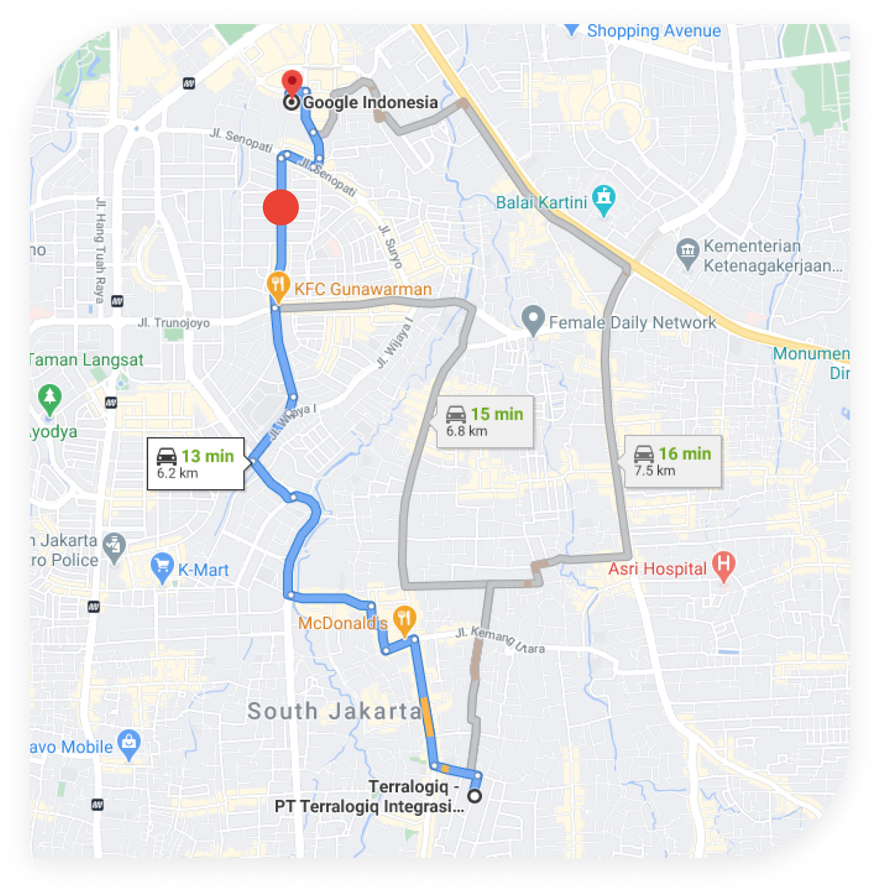 Google Maps - Routes Terralogiq